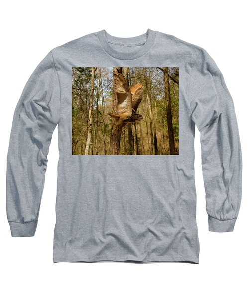 Long Sleeve T-Shirt featuring the photograph Eurasian Eagle Owl In Flight by Chris Flees