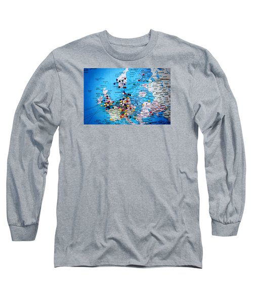 Europe And Russia Map Long Sleeve T-Shirt by Bob Pardue