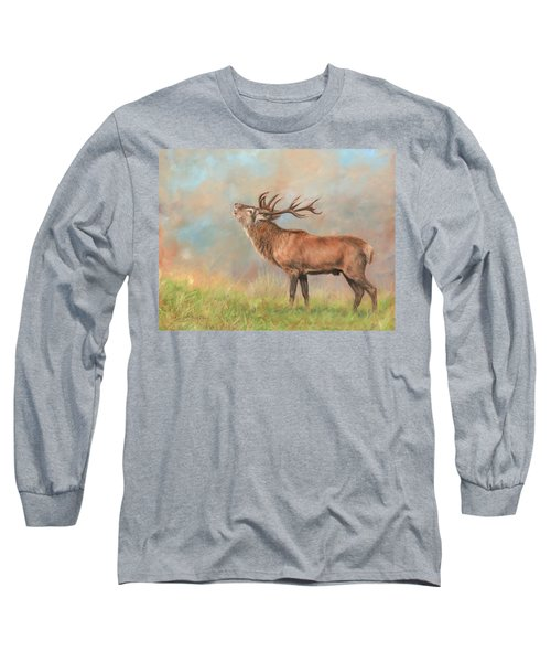 Long Sleeve T-Shirt featuring the painting European Red Deer by David Stribbling