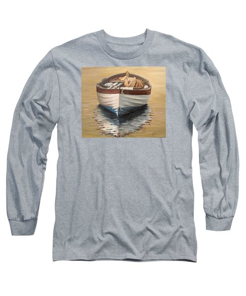 Long Sleeve T-Shirt featuring the painting Evening Boat by Natalia Tejera