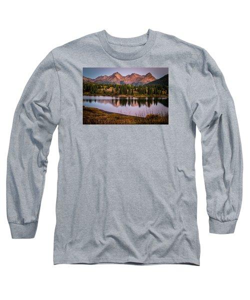 Evening Glow At Molas Lake Long Sleeve T-Shirt by Michael J Bauer