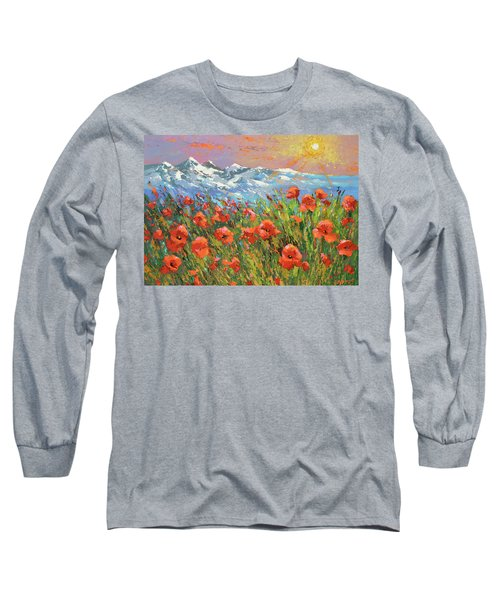 Evening Poppies  Long Sleeve T-Shirt by Dmitry Spiros