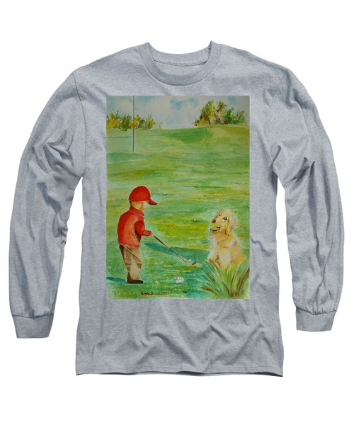 Everything Waits While I Golf Art Long Sleeve T-Shirt by Geeta Biswas