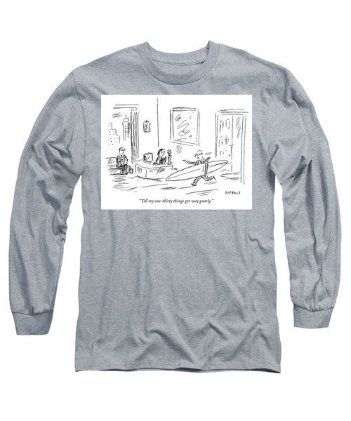 Executive Running From His Office With Surfboard Long Sleeve T-Shirt