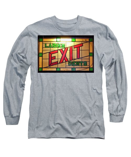 Exit - Ladies/gents Art Deco Sign Long Sleeve T-Shirt