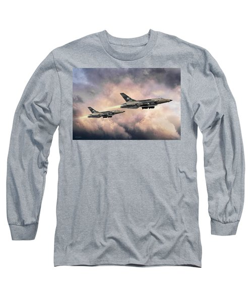 Long Sleeve T-Shirt featuring the digital art F-105 Thunderchief by Peter Chilelli