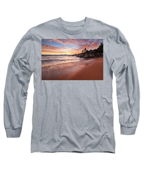 Fading Sunset Waves At Sand Harbor Long Sleeve T-Shirt