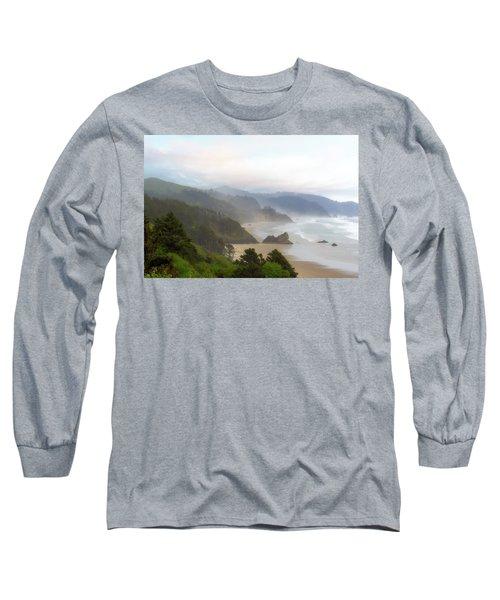 Falcon And Silver Point At Oregon Coast Long Sleeve T-Shirt