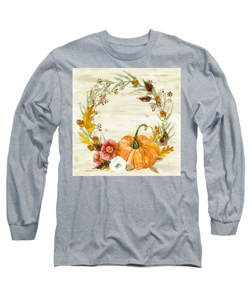 Long Sleeve T-Shirt featuring the painting Fall Autumn Harvest Wreath On Birch Bark Watercolor by Audrey Jeanne Roberts