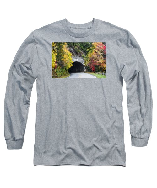 Fall Blue Ridge Parkway @ Rough Ridge Tunnel  Long Sleeve T-Shirt by Nature Scapes Fine Art