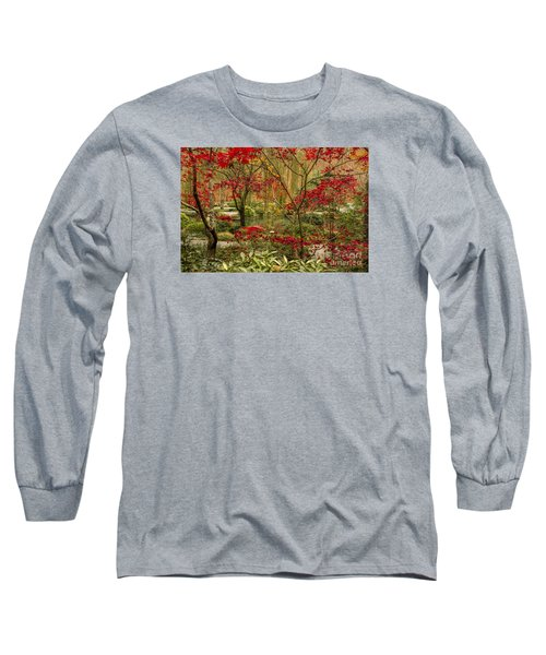 Fall Color In The Japanese Gardens Long Sleeve T-Shirt by Barbara Bowen