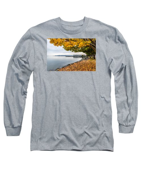 Long Sleeve T-Shirt featuring the photograph Fall Colors Framing Commencement Bay by Rob Green