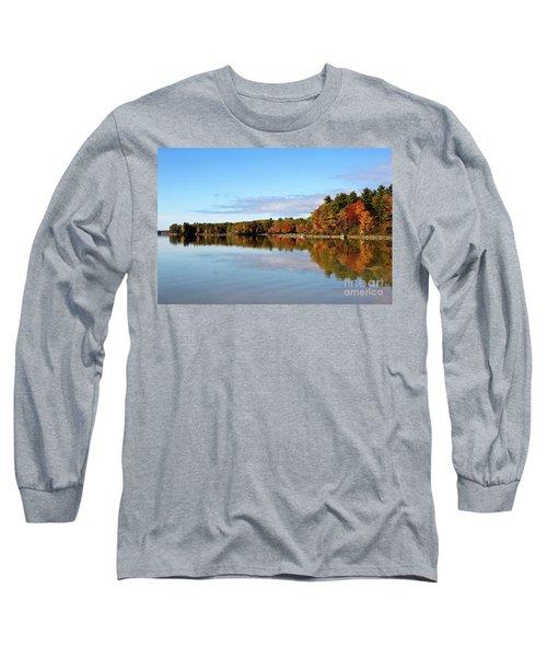 Fall Tree Reflections Lake Sabago Maine Long Sleeve T-Shirt