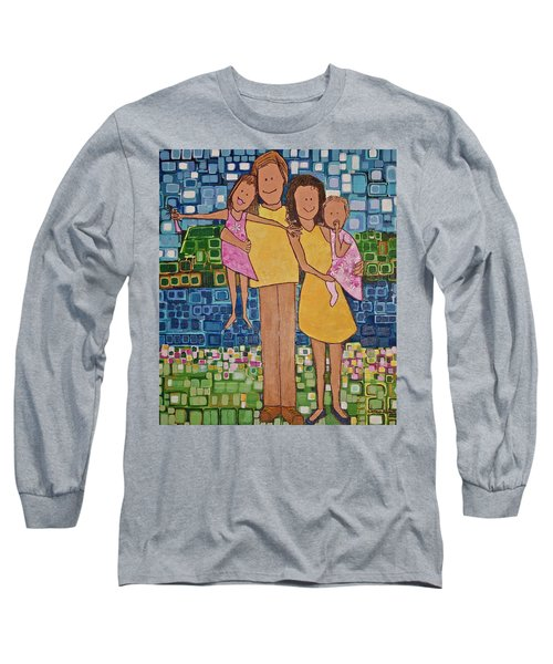 Long Sleeve T-Shirt featuring the painting Family Of 4 by Donna Howard