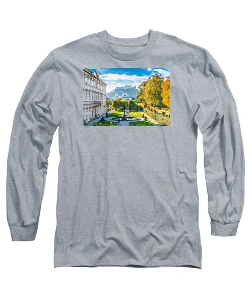 Famous Mirabell Gardens With Historic Fortress In Salzburg, Aust Long Sleeve T-Shirt by JR Photography