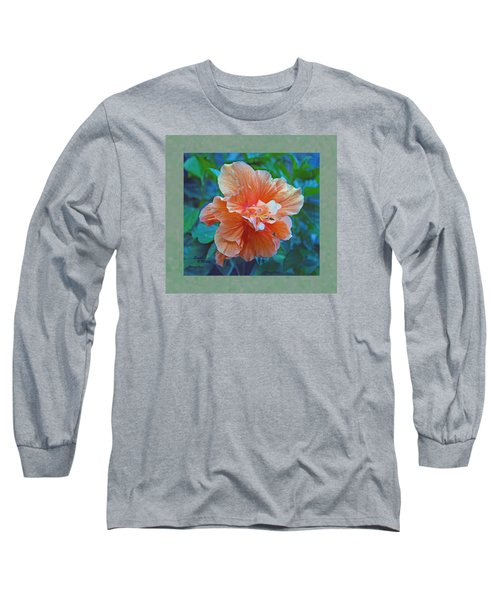 Fancy Peach Hibiscus Long Sleeve T-Shirt by Sandi OReilly