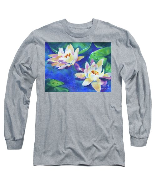 Long Sleeve T-Shirt featuring the painting Fancy Waterlilies by Kathy Braud
