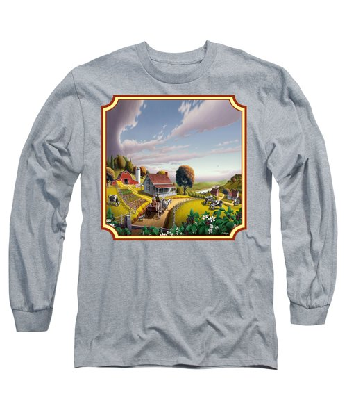 Farm Americana - Farm Decor - Appalachian Blackberry Patch - Square Format - Folk Art Long Sleeve T-Shirt by Walt Curlee