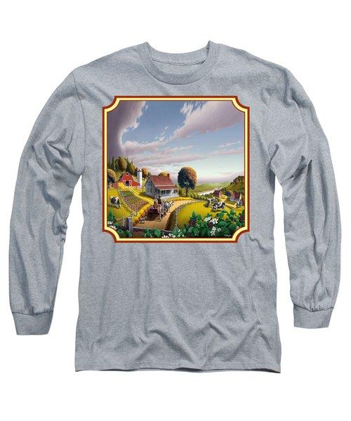 Farm Americana - Farm Decor - Appalachian Blackberry Patch - Square Format - Folk Art Long Sleeve T-Shirt