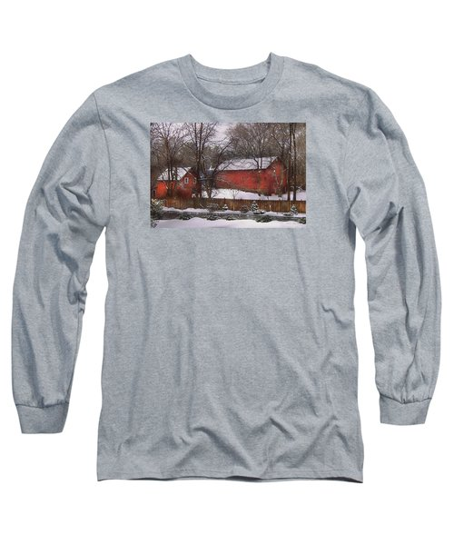 Farm - Barn - Winter In The Country  Long Sleeve T-Shirt by Mike Savad