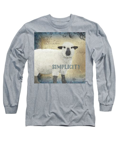 Long Sleeve T-Shirt featuring the painting Farm Fresh Sheep Lamb Simplicity Square by Audrey Jeanne Roberts