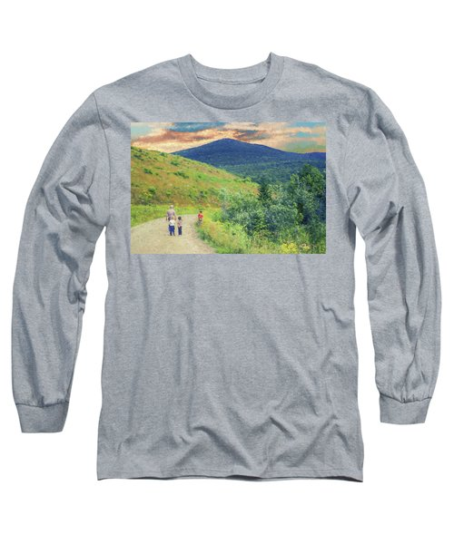 Father And Children Walking Together Long Sleeve T-Shirt