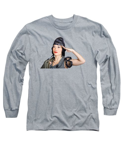 Female Aviation Lady Saluting In Pin-up Class Long Sleeve T-Shirt
