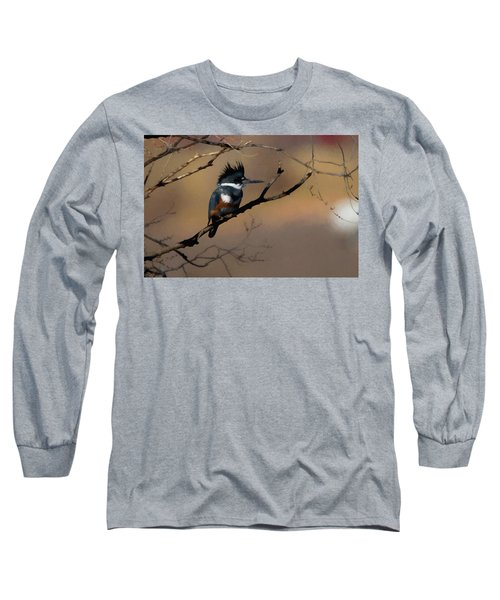 Female Belted Kingfisher Long Sleeve T-Shirt by Ernie Echols