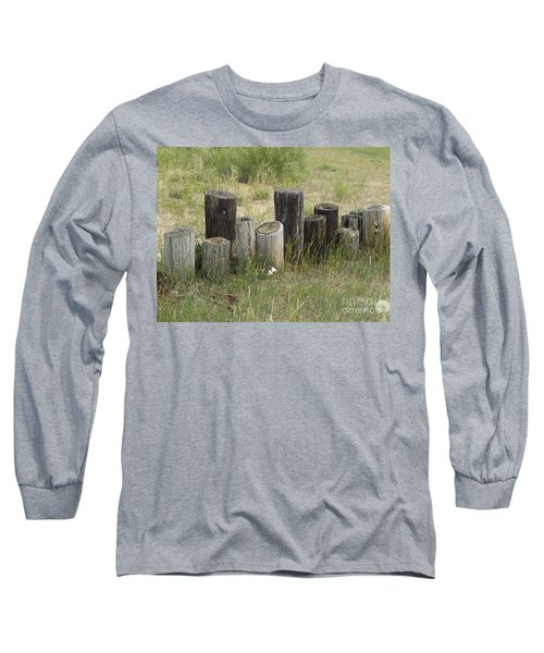 Fence Post All In A Row Long Sleeve T-Shirt by Erick Schmidt