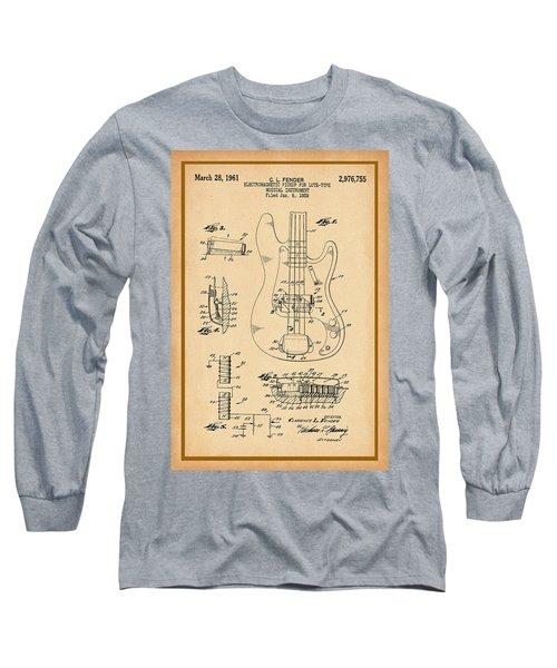 Fender Bass Guitar Pickup Patent Drawing Long Sleeve T-Shirt