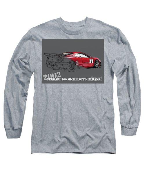 Ferrari 360 Michelotto Le Mans Race Car. Grey Background Long Sleeve T-Shirt