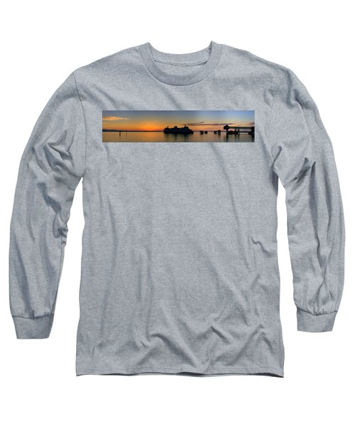 Ferry Boat Arrives To Mukilteo Ferry Terminal Long Sleeve T-Shirt