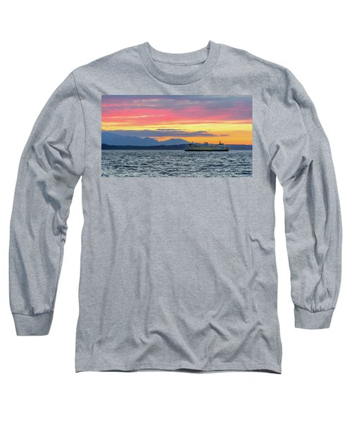 Ferry In Puget Sound Long Sleeve T-Shirt