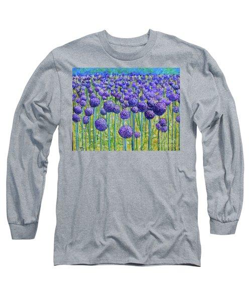 Field Of Allium Long Sleeve T-Shirt