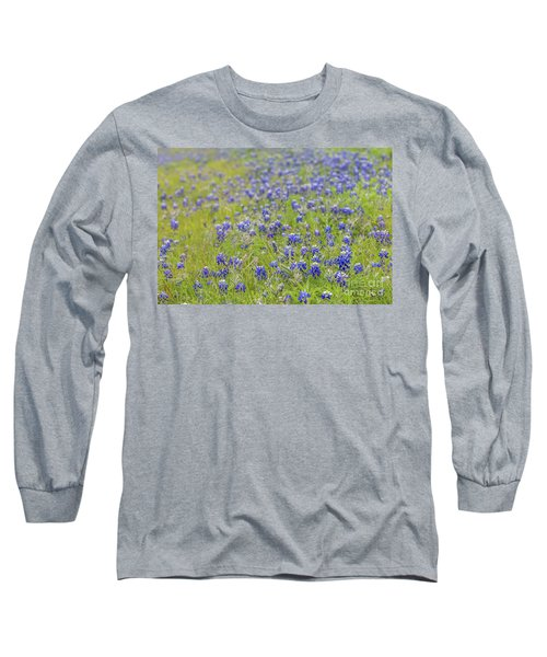 Field Of Blue Bonnet Flowers Long Sleeve T-Shirt