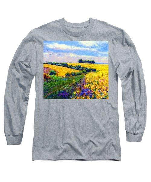 Long Sleeve T-Shirt featuring the painting Fields Of Gold by Jane Small
