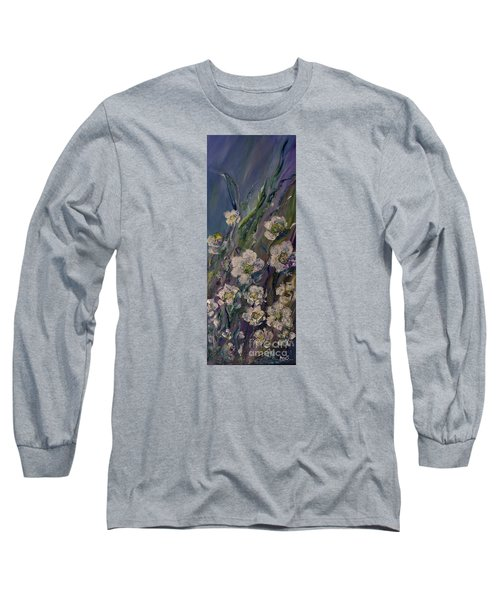 Fields Of White Flowers Long Sleeve T-Shirt by AmaS Art