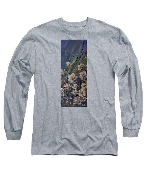 Fields Of White Flowers Long Sleeve T-Shirt