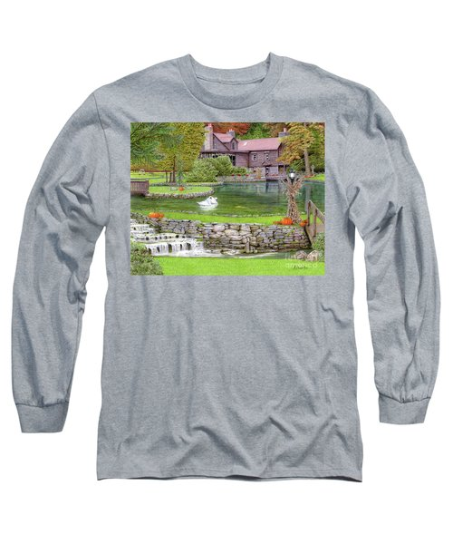Long Sleeve T-Shirt featuring the drawing Fin N Feather At Seven Springs by Albert Puskaric
