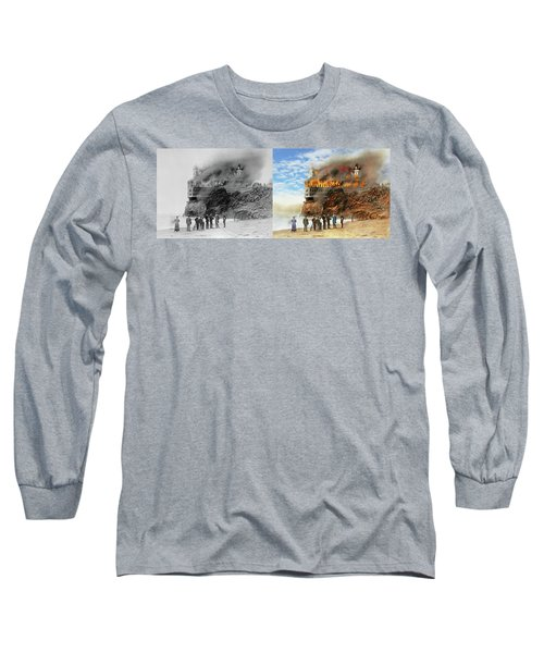 Long Sleeve T-Shirt featuring the photograph Fire - Cliffside Fire 1907 - Side By Side by Mike Savad