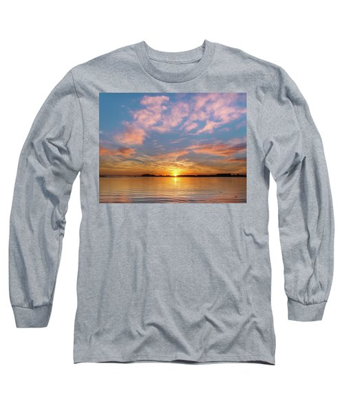 Fire Sunset On Humboldt Bay Long Sleeve T-Shirt by Greg Nyquist