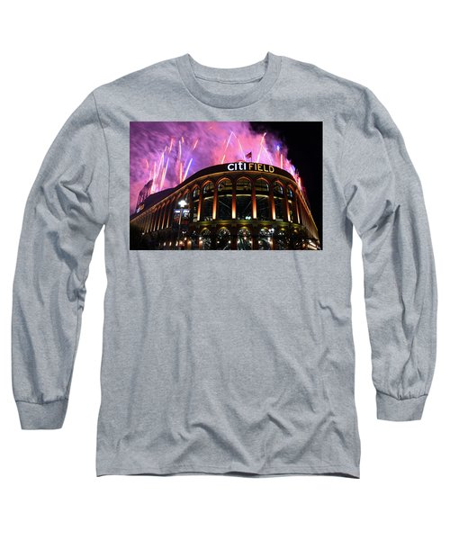 Fireworks Night At Citifield Long Sleeve T-Shirt by James Kirkikis