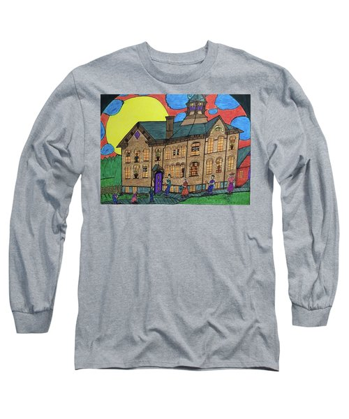 Long Sleeve T-Shirt featuring the drawing First Menominee High School. by Jonathon Hansen