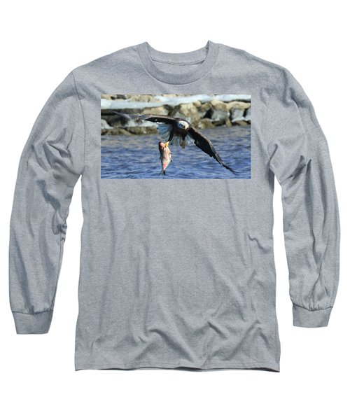 Fish In Hand Long Sleeve T-Shirt by Coby Cooper