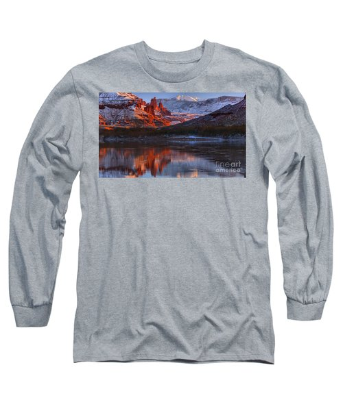 Long Sleeve T-Shirt featuring the photograph Fisher Towers And La Sal Mountains by Adam Jewell