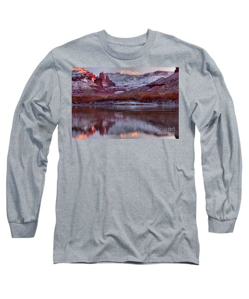 Long Sleeve T-Shirt featuring the photograph Fisher Towers Fading Sunset by Adam Jewell