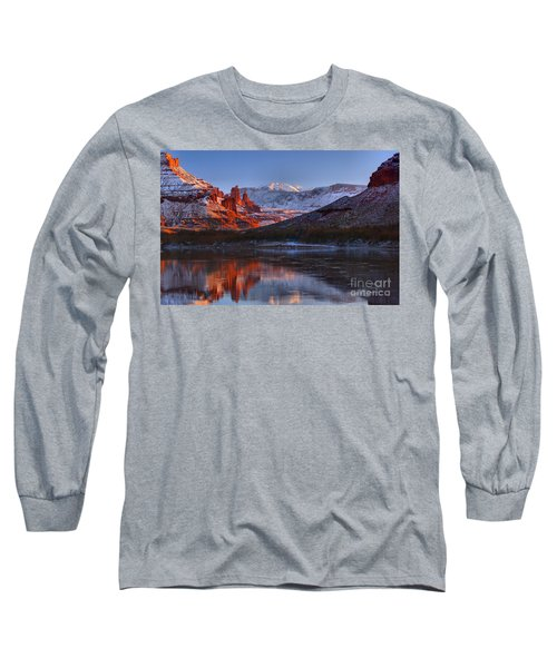 Long Sleeve T-Shirt featuring the photograph Fisher Towers Glowing Reflections by Adam Jewell