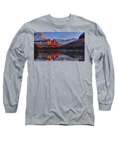 Long Sleeve T-Shirt featuring the photograph Fisher Towers Sunset Glow Panorama by Adam Jewell