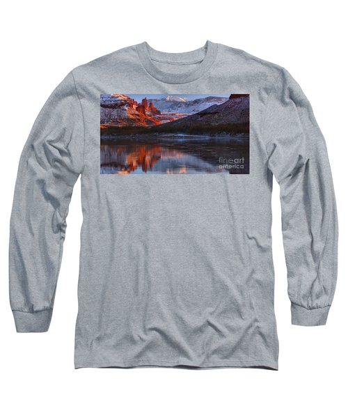 Long Sleeve T-Shirt featuring the photograph Fisher Towers Sunset Reflection Panorama by Adam Jewell
