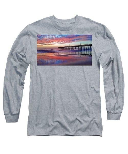 Fishing Pier Sunrise Long Sleeve T-Shirt by Suzanne Stout